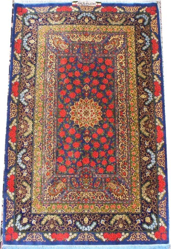 Ghom silk-carpet with rose design
