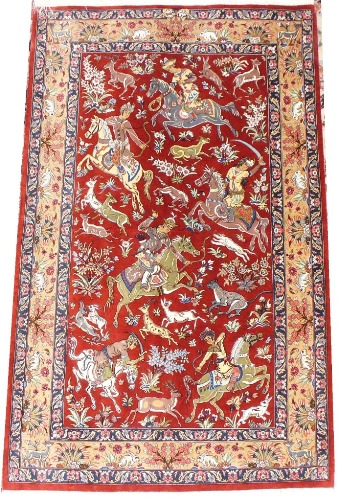 Ghom silk-carpet with hunting scene